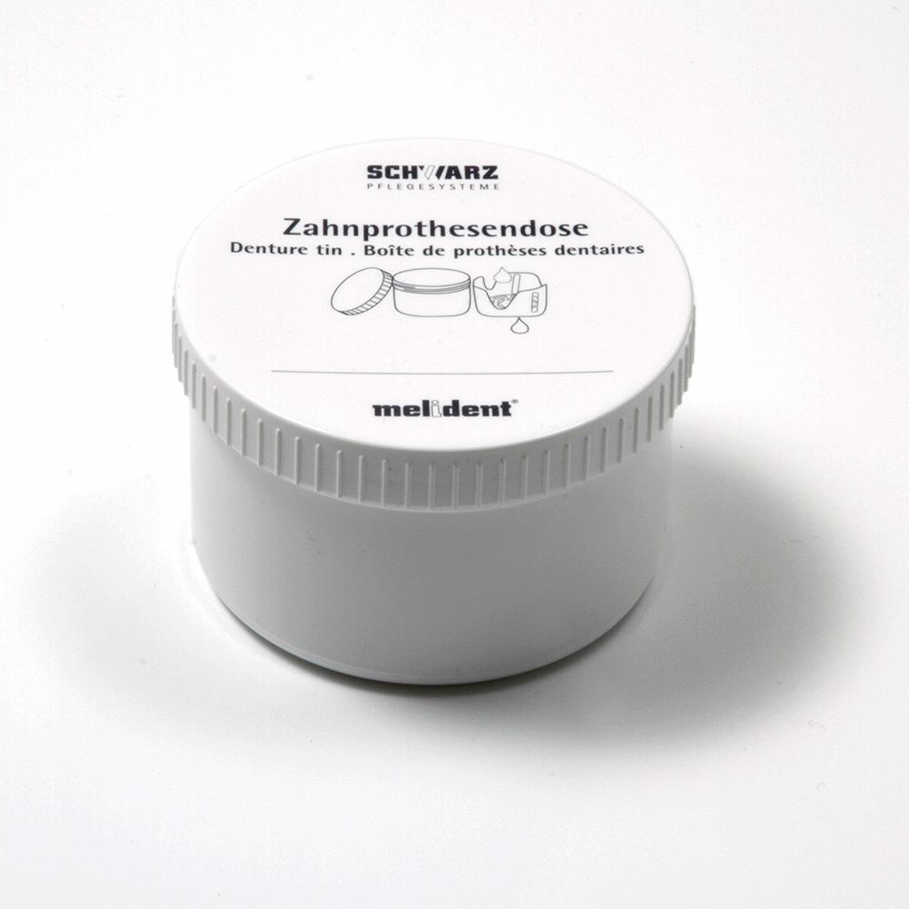 melident Zahnprothesendose, weiß, mit Schraubdeckel