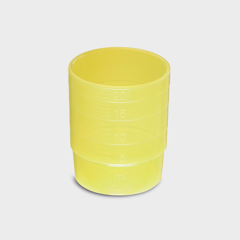 melipul MEHRWEG-Medikamentenbecher, stapelbar, PP, 25ml, Pack 60 Stück, gelb