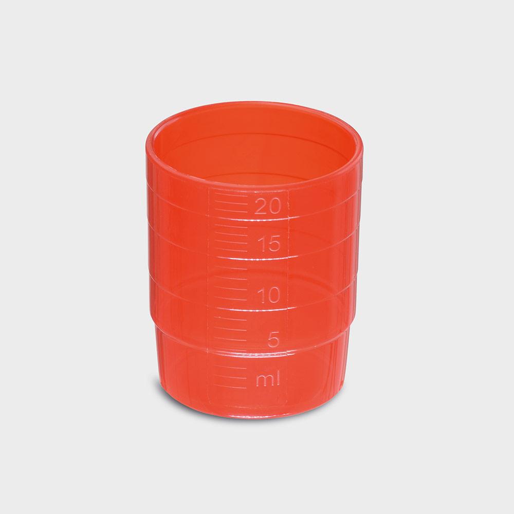melipul MEHRWEG-Medikamentenbecher, stapelbar, PP, 25ml, Pack 60 Stück, rot