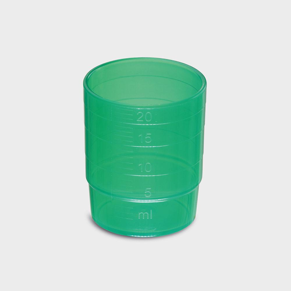 melipul MEHRWEG-Medikamentenbecher, stapelbar, PP, 25ml, Pack 60 Stück, grün