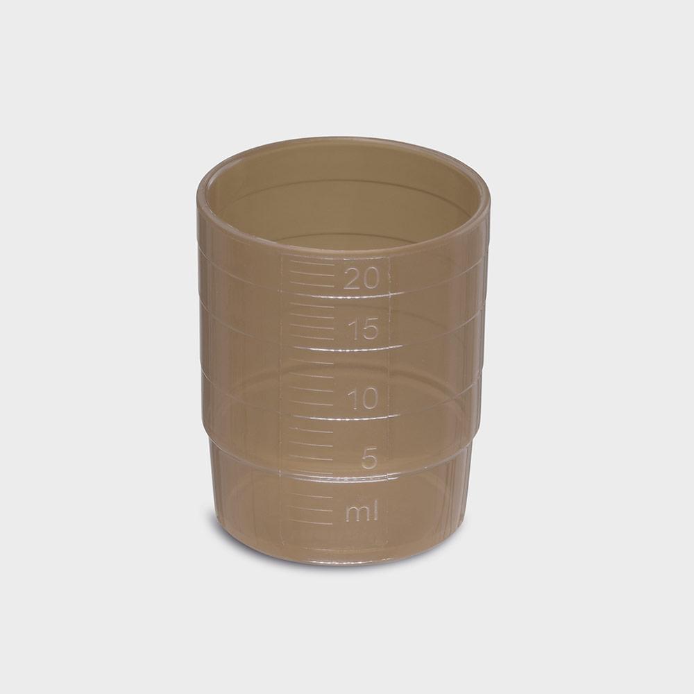 melipul MEHRWEG-Medikamentenbecher, stapelbar, PP, 25ml, Pack 60 Stück, braun