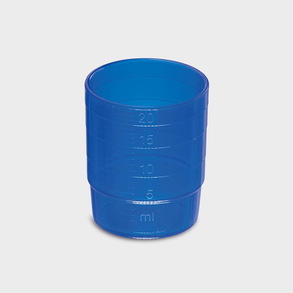 melipul MEHRWEG-Medikamentenbecher, stapelbar, PP, 25ml, Pack 60 Stück, blau