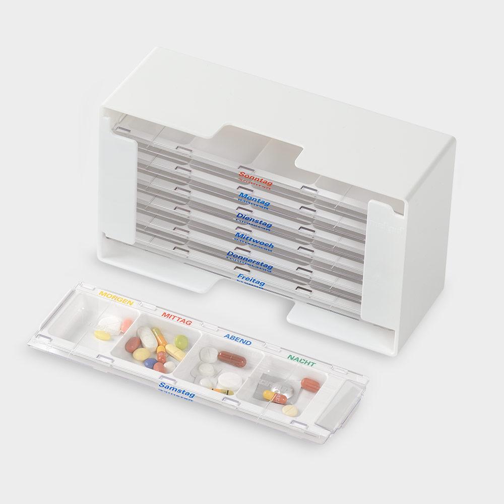 melipul Medikamenten-Dosierer XL-4, für 1 Woche, mit 7 MW-Dispenser, 4 Fächer