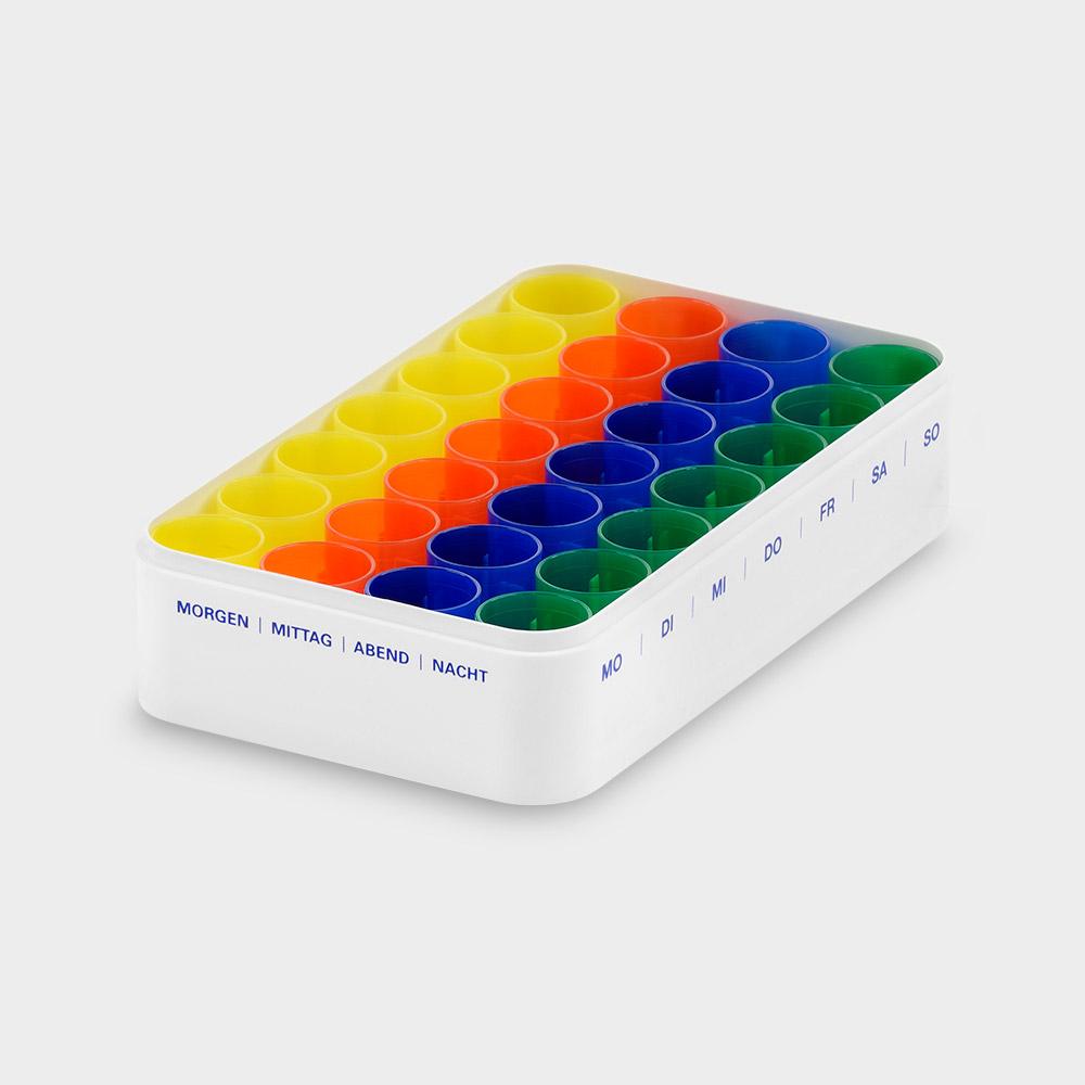 melipul Wochen-Dispenser 7x4, mit 28 Becher, Aufdruck blau