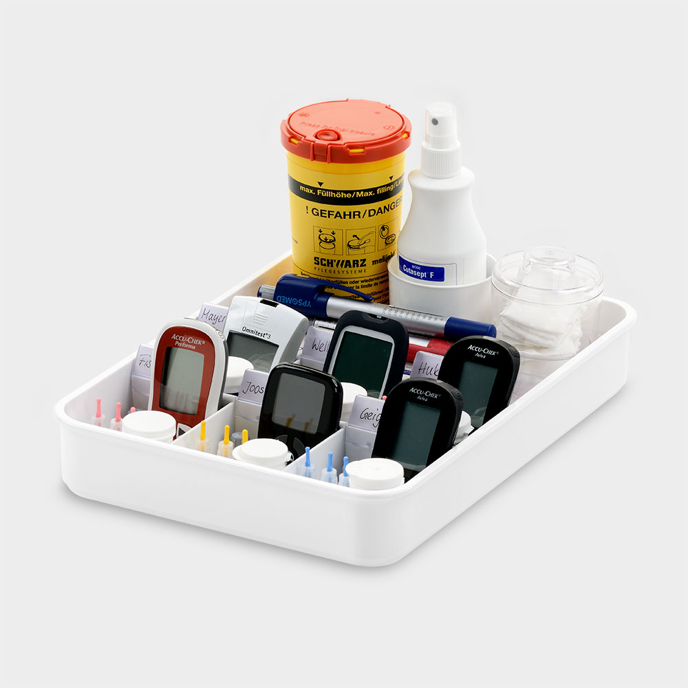 melijekt BZ-/Insulin-Tablett kombiniert 6/E-35 für 6 Pens. 6 variable Fächer für BZ-Messgerät.