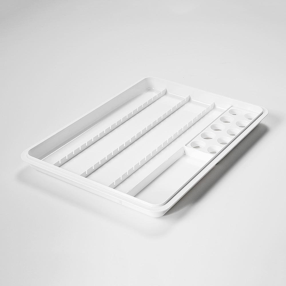 mevipas Dispenser-/Becher-Tablett 20D+10B, weiß, mit 1 Becher-Einsatz