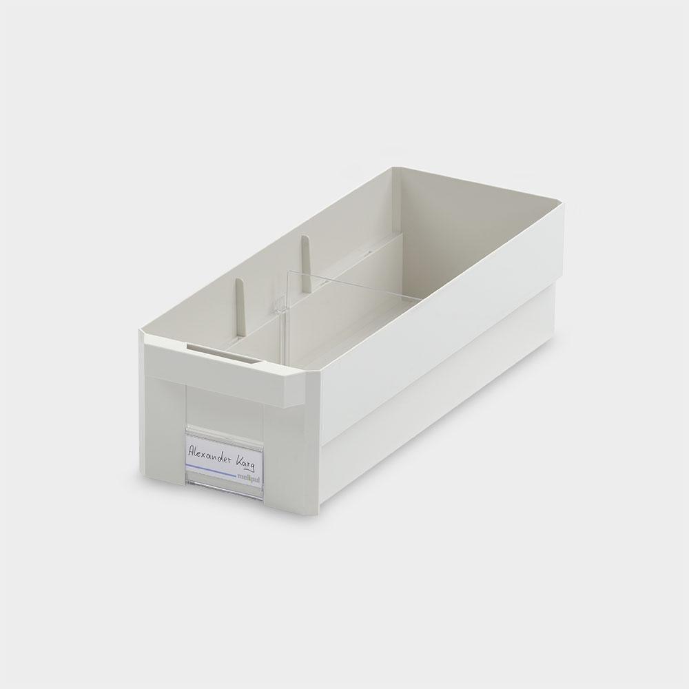 Kleinteilebehälter 15x40, mit Klemmschild und Fachteiler