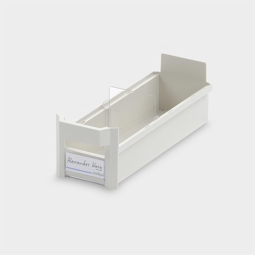 Schrankbehälter 10x30, mit Klemmschild und Fachteiler