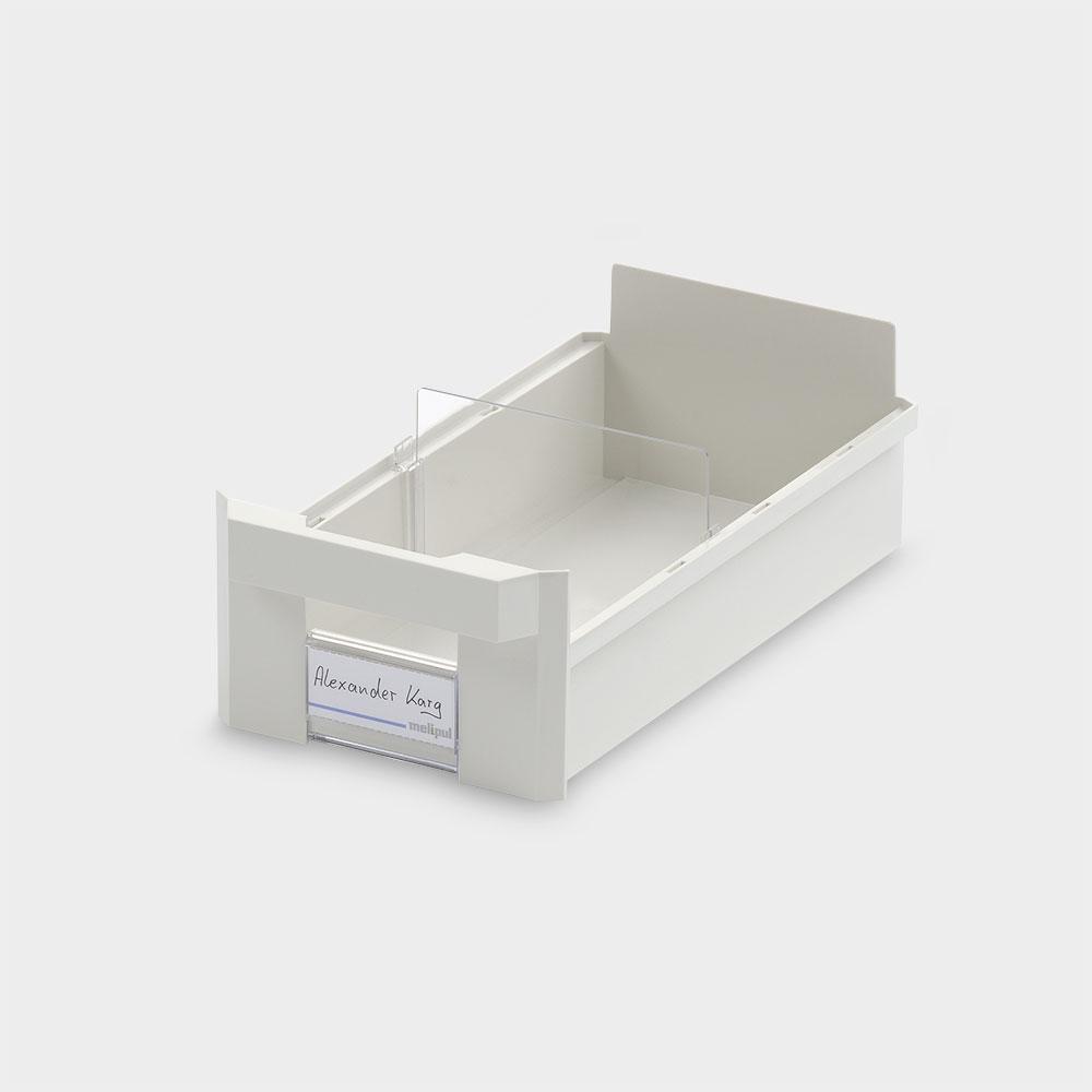 Schrankbehälter 15x30, mit Klemmschild und Fachteiler