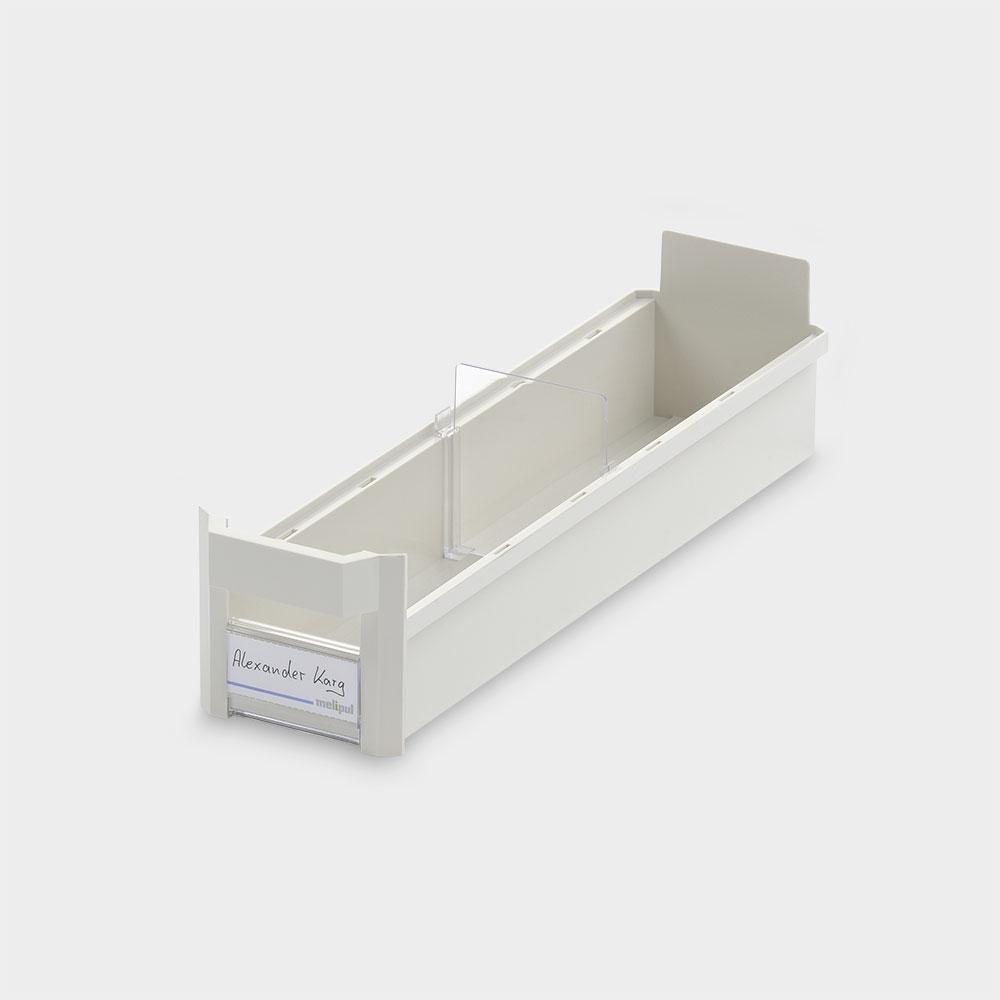 Schrankbehälter 10x40, mit Klemmschild und Fachteiler