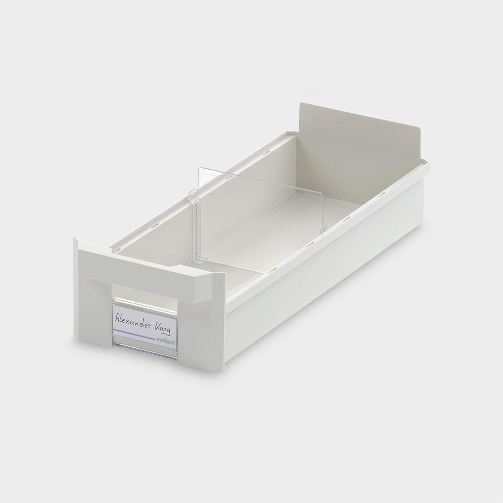 Schrankbehälter 15x40, mit Klemmschild und Fachteiler